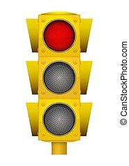 conduzido, luz, modernos, light., amarela, realístico, tráfego, ilustração, troque, vermelho