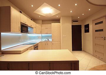 conduzido, modernos, mais claro, luxo, branca, cozinha