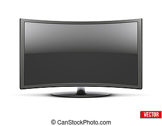 conduzido, monitor, tv, frontal, widescreen, lcd, curvado, ou, vista