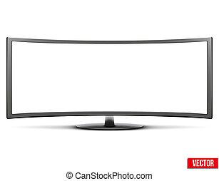 conduzido, monitor, tv, grande, widescreen, lcd, modelo, curvado, ou
