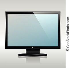 conduzido, monitor, tv, widescreen, lcd, internet, ou