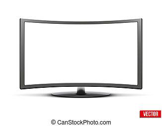 conduzido, monitor, tv, widescreen, lcd, modelo, curvado, ou