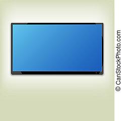 conduzido, tela tv, parede, lcd, penduradas, ou