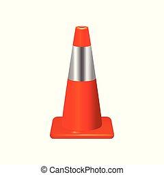 cone., 标志。, 矢量, 交通