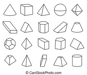 Cone and Pyramid Shapes Set Vector Illustration
