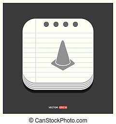 Cone Icon Gray icon on Notepad Style template Vector EPS 10 Free Icon