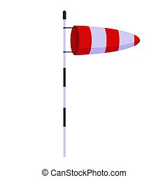 Cone meteorology windsock wind vane isolated on white...