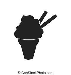Cone of ice cream silhouette icon. Dessert and sweet design....