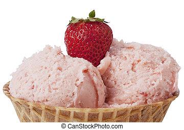 cone of strawberry ice cream closed up