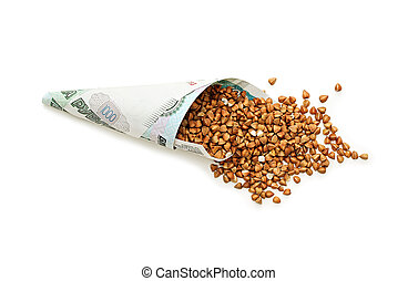 Cone of thousand ruble banknotes with buckwheat. Concept - the high cost of cereals. Isolated.