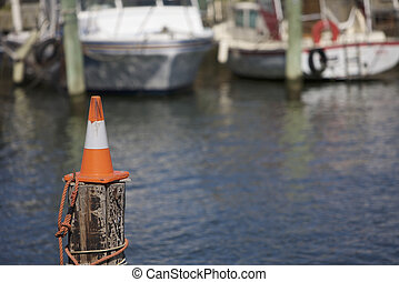 Cone on a pole, warning