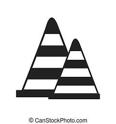 cone precaution road sign