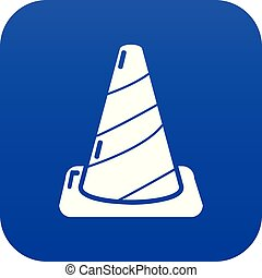 Cone road icon blue vector