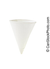 Cone shape disposable paper cup on white background