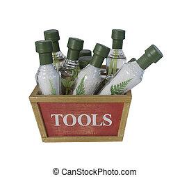Cone-Shaped Bath Salt Bottles in a Wooden Tool Box