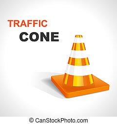 cone., vector, tráfico, ilustración