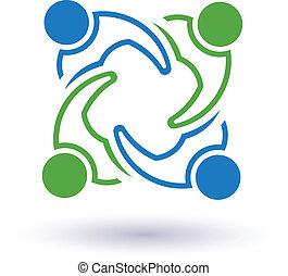 conectado, 7 pessoas, outro., feliz, ajudando, ícone, equipe, congress., vetorial, grupo, amigos, conceito, cada