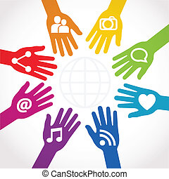 conectado, acción, manos