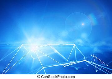 conectado, azul, pontos