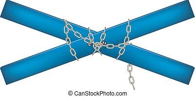conectado, cadena, travesaño