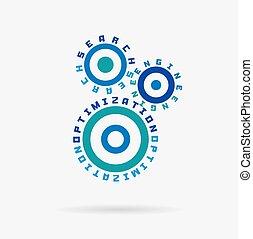 conectado, cogwheels., optimización de buscador, words., integrado, engranajes, text., digital, red, negocio internet, mercadotecnia, concept.