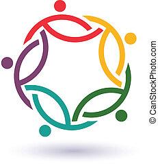 conectado, .concept, pessoas, outro., trabalho equipe, ajudando, ícone, internacional, círculo, vetorial, 5, grupo, cada