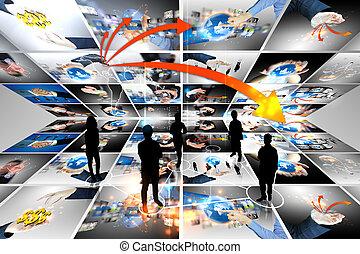 conectado, equipe negócio, mundo