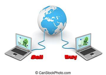 conectado, mundo, comércio eletrônico, -