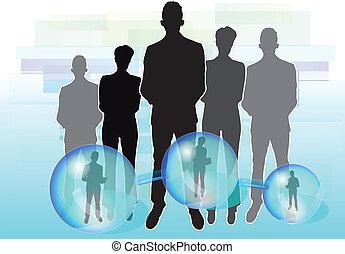 conectado, negócio ilustração, pessoas