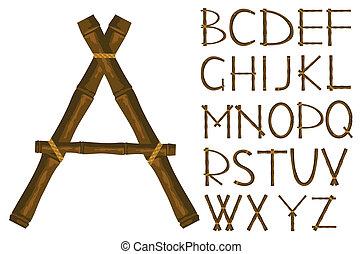 conectado, palos, alfabeto, banda, bambú