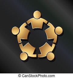 conectado, pessoas, circle., forte, trabalho equipe, ícone, vetorial, dourado, 5