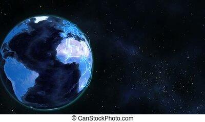 conectado, planeta azul, globo, torneado