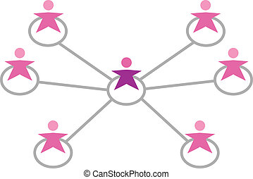 conectado, rede, mulheres, isolado, branca