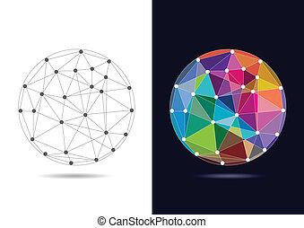 conectado, resumen, vector, -, globo