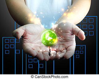 conectado, segurando, mundo, mão