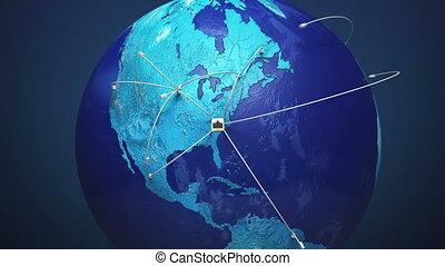 conectando, lan, cabo, rede