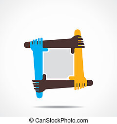 conectando, mão, ícone, conceito