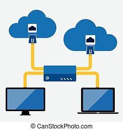 conectando, nuvem, computando