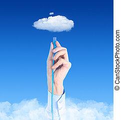 conectando, para, nuvem, conceito