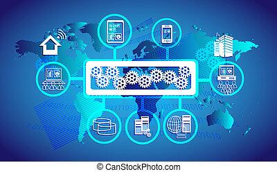 conectividad, autobús, empresa, servicio