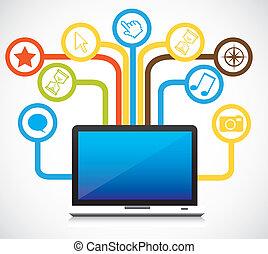 conectividad, iconos