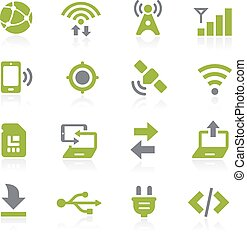 conectividad, natura, iconos