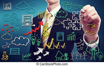 conectividade, através, nuvem, computando, conceito
