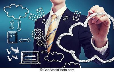 conectividade, conceito, através, nuvem, computando
