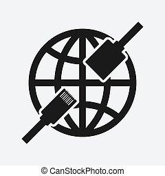 conector, ethernet, símbolo, rede