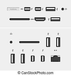 conectores, ícones computador