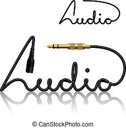 conectores, vector, gato, caligrafía, audio