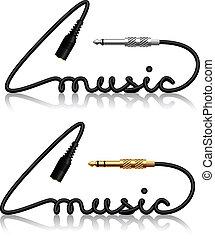conectores, vector, música, gato, caligrafía