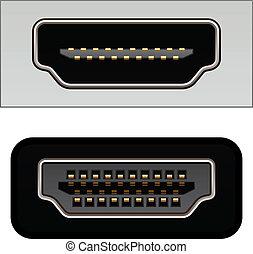 conectores, vector, vídeo, hdmi, digital