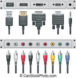 conectores, vetorial, vídeo, áudio